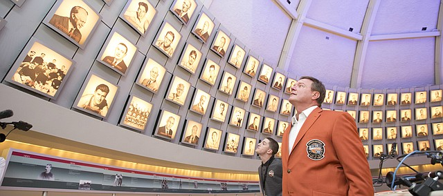 Kansas head coach Bill Self tours the top floor of the Naismith Memorial Basketball Hall of Fame in Springfield, Massachusetts following a jacket presentation on Thursday, Sept. 7, 2017. On Friday, Self will be inducted into the Hall of Fame