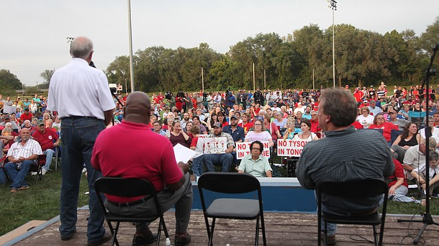 State legislators, from left, Rep. Jim Karleskint, R-Tonganoxie; Rep. Willie Dove, R-Bonner Springs; and Sen. Tom Holland, D-Baldwin City, are shown at a town hall about a proposed Tyson chicken facility south of Tonganoxie, Friday, Sept. 15, 2017.