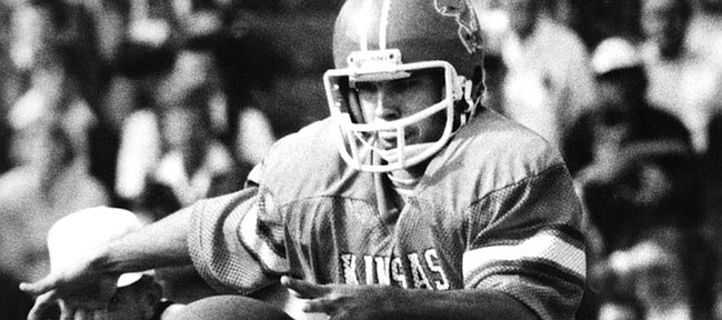 Bucky Scribner is shown in a University of Kansas football uniform.