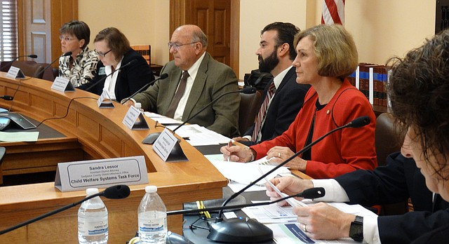 Legislative members of the Child Welfare System Task Force include, from right: Sen. Laura Kelly, D-Topeka; Rep. Linda Gallagher, R-Lenexa; Rep. Steve Alford, chairman, R-Ulysses; Rep. Jarrod Ousley, D-Merriam; and Sen. Barbara Bollier, R-Mission Hills.
