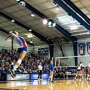 Kansas freshman outside hitter Patricia Montero serves in the third set of the match against Kansas State on Wednesday, Oct. 12, 2016 at Horejsi Center.