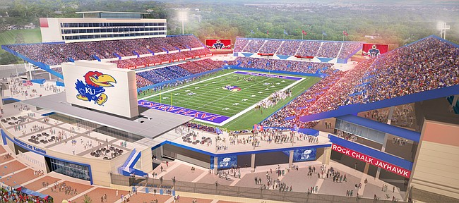 Rendering of Kansas football's Memorial Stadium, at completion of renovation project.