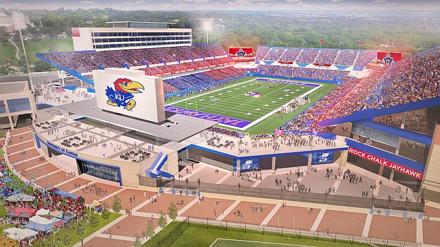 Rendering of the University of Kansas football stadium, at completion of renovation project.