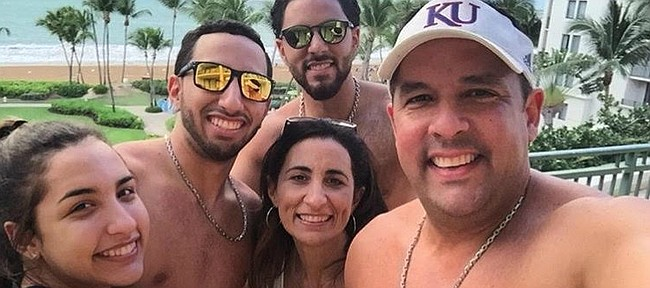 The Montero family, from left to right, Patricia, Jaime, Vanessa, Efrain Jr., and Efrain Sr., snapped this scenic family photo during a recent vacation. With all four of her family members waiting out the recent hurricanes in Puerto Rico, Kansas volleyball sophomore, Patricia, waited for news from home while maintaining her regular routine with the 12th-ranked KU volleyball team.