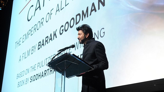 """In this AP file photo from March 24, 2015, Dr. Siddhartha Mukherjee speaks at a screening of """"Cancer: The Emperor of all Maladies"""" at Jazz at the Lincoln Center in New York. (Photo by Diane Bondareff/Invision for Entertainment Industry Foundation/AP Images)"""