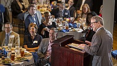 University of Kansas chancellor Dr. Douglas Girod speaks to those gathered for the Lawrence Chamber of Commerce Membership Luncheon on Wednesday, Sept. 27, 2018 at Maceli's, 1031 New Hampshire Street. Girod addressed various areas of his focus for improving the university and its relationship to the business community.