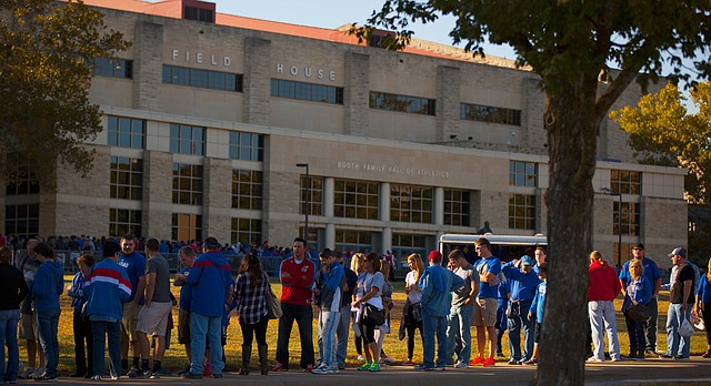 A long line of Jayhawk fans stretches down Naismith Drive for Late Night in the Phog, Friday, Oct. 9, 2015 at Allen Fieldhouse.