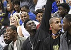 Kansas basketball recruit Zion Williamson waves to the crowd after they started chanting his name during the 33rd-annual Late Night in the Phog on Saturday, Sept. 30, 2017 at Allen Fieldhouse.