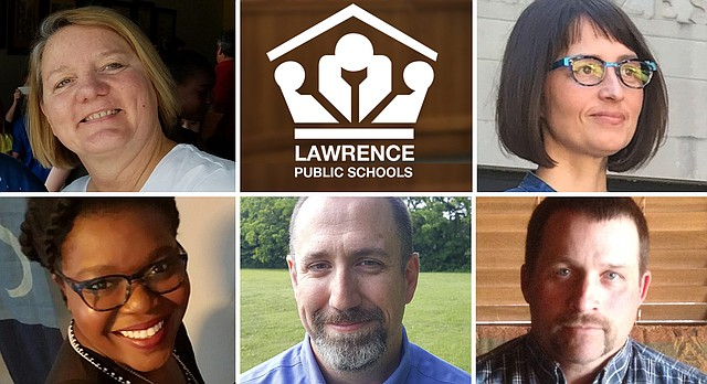 "Five candidates are actively campaigning for three open seats on the Lawrence school board in the Nov. 7, 2017, election. They are, clockwise from top left, Gretchen Lister, Kelly Jones, James Hollinger, Ronald ""G.R."" Gordon-Ross and Melissa Johnson."