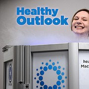 Journal-World health reporter Mackenzie Clark is shown inside a cryosauna at Optimal Wellness and Cryospa, 4931 W. Sixth St.