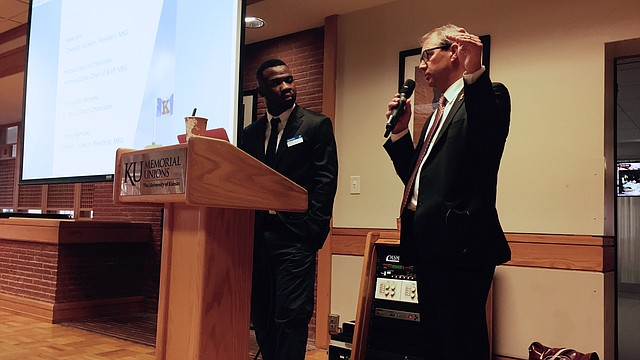 "University of Kansas Chancellor Douglas Girod, right, speaks to students during KU's Multicultural Student Government ""Straight Talk"" program on Thursday, Oct. 5 at the Kansas Union. MSG chief of staff Andrew Davis, left, served as moderator of the forum, which focused on retention rates."