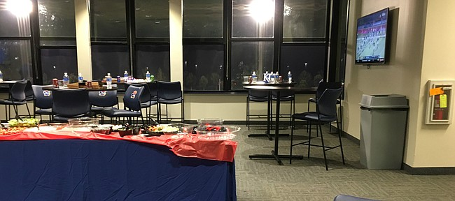 The lounge at Rock Chalk Park following the Jayhawks' 1-0 loss to Kansas State in the inaugural women's soccer Sunflower Showdown.