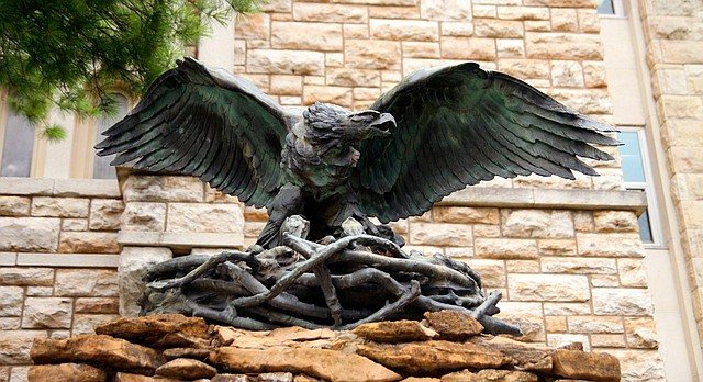"""""""The Victory Eagle"""" near Dyche Hall on the University of Kansas campus."""