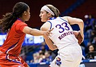 Kansas sophomore Kylee Kopatich (33) looks for a passing lane against SMU on Wednesday at Allen Fieldhouse.