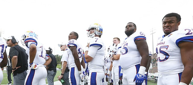 The Kansas bench watches a final field goal by Ohio late in the fourth quarter on Saturday, Sept. 16, 2017 at Peden Stadium in Athens, Ohio.