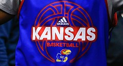 A University of Kansas basketball player wears an adidas practice jersey in this file photo from March 2016.