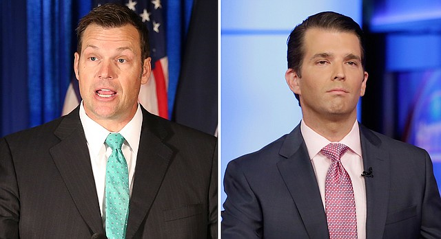 Donald Trump Jr., right, will be in Kansas on Nov. 28 for a campaign fundraiser for Kris Kobach, who is running for governor.
