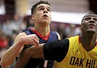 Nathan Hale's Michael Porter Jr. (1) battles for position against Oak Hill Academy's Billy Preston (23) during a high school basketball game at the 2017 Hoophall Classic on Monday, January 16, 2017, in Springfield, MA. The friends and current Mizzou and KU players, respectively, will meet on the court Sunday, Oct. 22, 2017, for the Showdown For Relief scrimmage between the teams at Sprint Center.