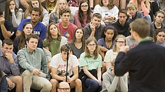 A gathering of Free State students listen as Tyler Ruzich, a 17-year-old gubernatorial candidate from Shawnee Missio North High School, lays out his campaign platform on Thursday, Oct. 19, 2017 in the Free State High School gymnasium. Four teens have thus far announced their candidacy for Kansas governor. On Thursday, all four fielded questions from Free State students about various issues including their stances on gun control, taxes, and also, how would they continue their education if elected.