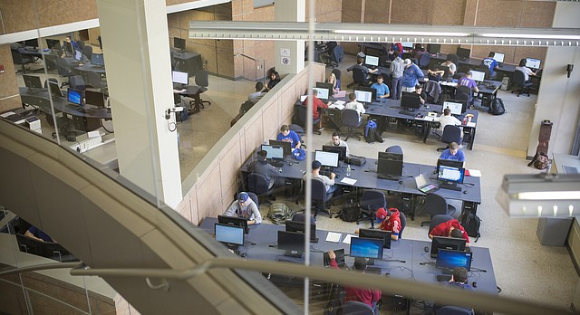 Students work within a computer lab at the School of Engineering on the campus of the University of Kansas, Friday, Oct. 20, 2017.