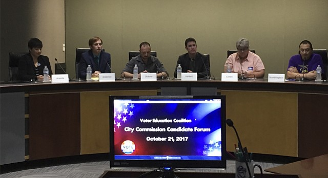 Lawrence City Commission candidates participate in a forum hosted by the Voter Education Coalition on Oct. 21, 2017, at City Hall, 6 E. Sixth St.