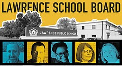 """Five candidates — from left, Ronald """"G.R."""" Gordon-Ross, James Alan Hollinger, Melissa Johnson, Kelly Jones and Gretchen Lister — are seeking election to the Lawrence school board this year."""