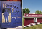 "At left is an AP photo of a first-edition copy of Mark Twain's ""Adventures of Huckleberry Finn""; at right are the Lawrence school district offices, 110 McDonald Drive."