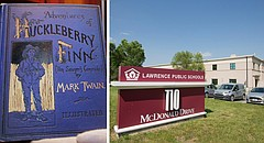 """At left is an AP photo of a first-edition copy of Mark Twain's """"Adventures of Huckleberry Finn""""; at right are the Lawrence school district offices, 110 McDonald Drive."""