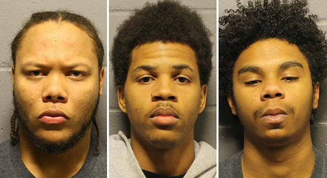 From left, Anthony L. Roberts Jr., Ahmad M. Rayton and Dominique J. McMillon will appear in Douglas County District Court for charges related to the Oct. 1, 2017 triple murder on Massachusetts Street.