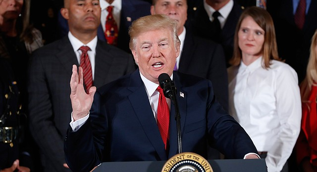 President Donald Trump speaks during an event to declare the opioid crisis a national public health emergency in the East Room of the White House, Thursday, Oct. 26, 2017, in Washington. (AP Photo/Pablo Martinez Monsivais)
