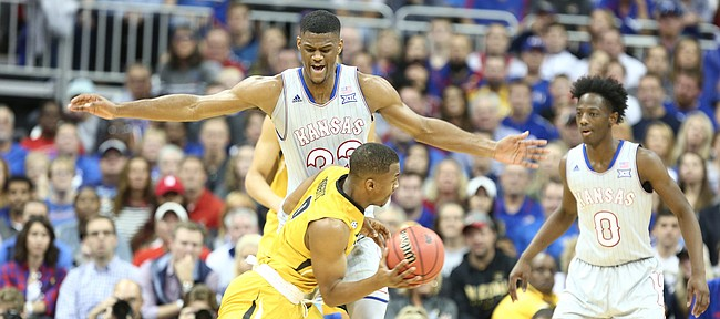 Kansas forward Billy Preston (23) defends against a drive by Missouri guard C.J. Roberts (0) during the first half of the Showdown for Relief exhibition, Sunday, Oct. 22, 2017 at Sprint Center in Kansas City, Missouri.
