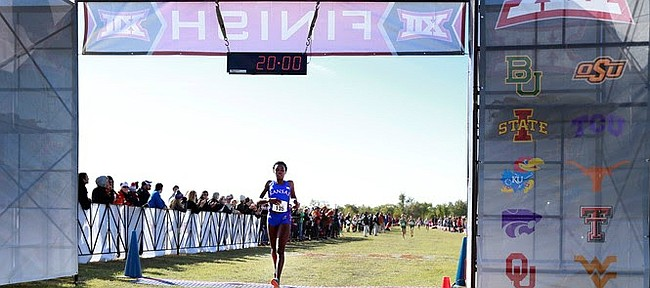 For the second year in a row, Kansas junior Sharon Lokedi, shown here crossing the finish line, won the Big 12 Championship women's cross country individual title on Saturday, Oct. 28, 2017, in Round Rock, Texas, becoming just the fourth female in Big 12 history to win multiple championships.