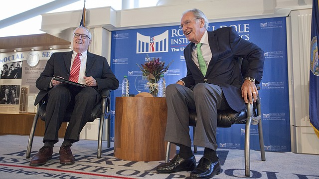 Bill Lacy, director of the Dole Institute of Politics at the University of Kansas, interviews U.S. Sen. Tom Harkin, whom the institute selected for its 2017 Dole Leadership Prize, on Sunday, Oct. 29, 2017. Harkin represented Iowa in the U.S. Congress for more than four decades, including 30 years as a U.S. Senator.