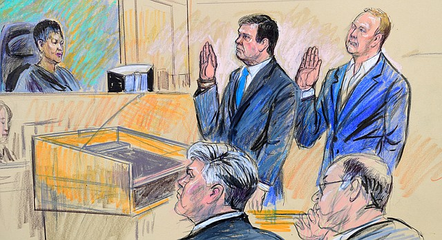 A court artist drawing shows President Donald Trump's former campaign chairman, Paul Manafort, center standing and Manafort's business associate, Rick Gates, in federal court in Washington, Monday, Oct. 30, 2017, before U.S. Magistrate Judge Deborah A. Robinson. Seated at front left is Manafort's attorney Kevin Downing. Manafort and Gates have pleaded not guilty following their arrest on charges related to conspiracy against the United States and other felonies. The charges are the first from the special counsel investigating possible coordination between the Trump campaign and Russia. (Dana Verkouteren via AP)