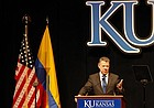 Juan Manuel Santos, the President of Colombia, spoke at the Lied Center on Oct. 31, 2017. Santos graduated from the University of Kansas in 1973.