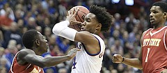 Kansas senior guard Devonte' Graham drives to the basket in an exhibition game against Pittsburg State on Tuesday at Allen Fieldhouse.