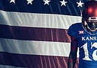 """KU and Adidas on Tuesday unveiled the """"Jay-Hawkers"""" alternate football uniform, which will be worn in conjunction with the program's annual Salute to Service weekend."""