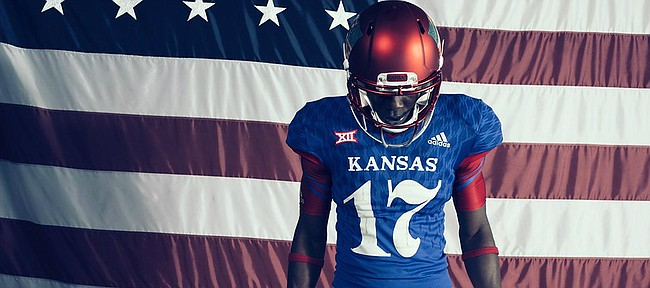 "KU and Adidas on Tuesday unveiled the ""Jay-Hawkers"" alternate football uniform, which will be worn in conjunction with the program's annual Salute to Service weekend."