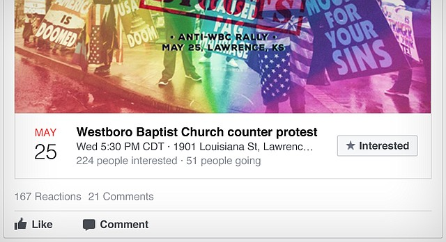 This partially redacted screenshot, provided Wednesday, Nov. 1, 2017, by the U.S. House Intelligence Committee, shows a Facebook ad for a counter-protest in Lawrence against Westboro Baptist Church. The ad was one of the 3,000 purchased by Russian operatives during the 2016 elections.