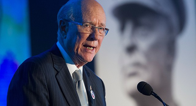 Sen. Pat Roberts, R-Kansas, chairman, Dwight D. Eisenhower Memorial Commission, speaks during the groundbreaking of the Dwight D. Eisenhower Memorial, in Washington, Thursday, Nov. 2, 2017. The memorial will be located on four acres of land near the National Mall. (AP Photo/Cliff Owen)