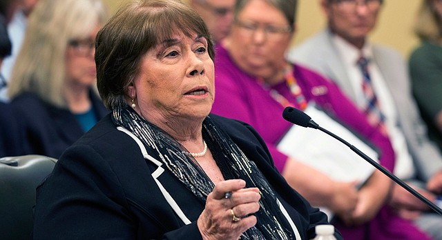 In this July 27, 2016, file photo, Phyllis Gilmore, secretary of the Department for Children and Families, answers questions at a committee meeting in Topeka, Kan. (Emily DeShazer/The Topeka Capital-Journal via AP, File)