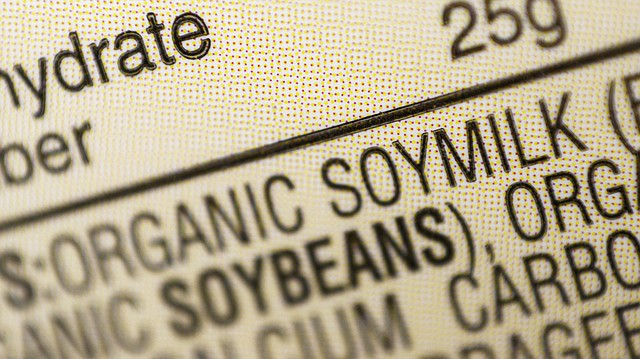 This Thursday, Feb. 16, 2017, file photo shows the ingredients label for soy milk at a grocery store in New York. The U.S. Food and Drug Administration recently announced it wants to remove a health claim about the heart benefits of soy from cartons of soy milk, tofu and other foods, saying the latest scientific evidence no longer shows a clear connection. (AP Photo/Patrick Sison, File)