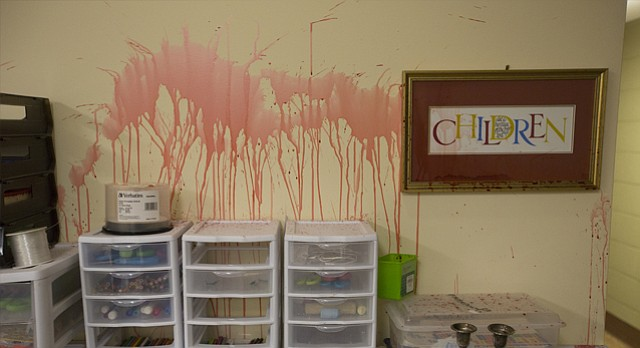 In an act of vandalism that was reported Wednesday morning, Nov. 1, 2017, paint was splattered throughout portions of the main level and basement level of Trinity Episcopal Church, 1011 Vermont Street, in what church officials believe was a break-in. The vandalism is pictured Friday, Nov. 3.
