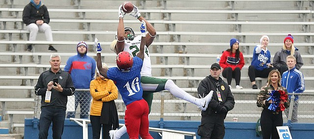 Baylor tight end Ishmail Wainright (24) catches a touchdown pass over Kansas cornerback Kyle Mayberry (16) during the fourth quarter on Saturday, Sept. 4, 2017 at Memorial Stadium.