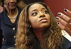 In this Tuesday Oct. 17, 2017, file photo, civil rights activist Tamika Mallory speaks at a news conference in New York.