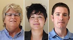 From left, Lisa Larsen, Jennifer Ananda and Matthew Herbert received the most votes in the Lawrence City Commission elect, Tuesday, Nov. 7, 2017. If the final standings hold, Larsen and Ananda would be elected to 4-year terms, while Herbert would be elected to a 2-year term.