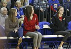 Kansas starter Madison Rigdon, right, watches Wednesday's match from the bench on Wednesday, Nov. 8, 2017.