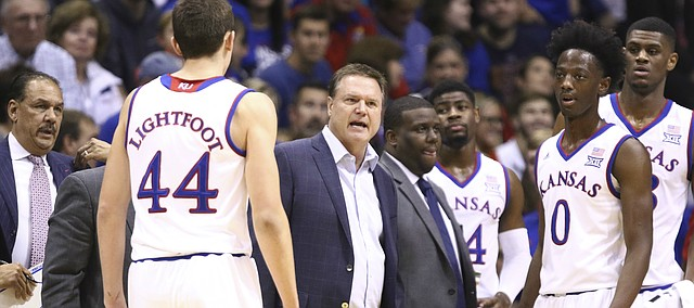 Kansas head coach Bill Self chews into his players during a timeout in the first half, Tuesday, Nov. 7, 2017 at Allen Fieldhouse.