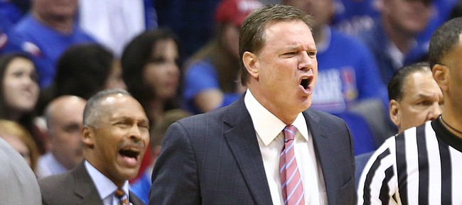 Kansas head coach Bill Self has words for a game official after a foul called against the Jayhawks during the first half on Friday, Nov. 10, 2017 at Allen Fieldhouse.
