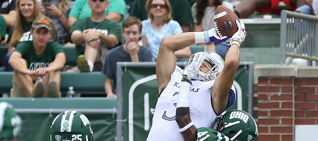 Kansas wide receiver Chase Harrell (3) gets up for a touchdown catch over Ohio cornerback Ilyaas Motley (41) during the second quarter on Saturday, Sept. 16, 2017 at Peden Stadium in Athens, Ohio.
